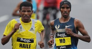 Mo Farah and Haile Gebrselassie dispute events that took place at the latter's hotel in Ethiopia last month. Photograph: Nigel Roddis/Getty Images