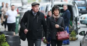 Patrick Quirke (50) at court with his wife, Imelda. He is charged with the murder of 52-year-old Bobby Ryan. Photograph: Collins Courts