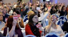 ASTI delegates during the annual convention in Wexford during debates on the motions on  teachers' pay. Photograph: Alan Betson / The Irish Times