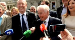 Senator Shane Ross (left) with Feargal Quinn and members of the Independent Alliance outside Leinster House in 2015. File photograph: Cyril Byrne/The Irish Times