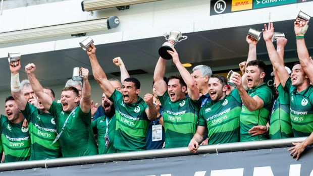 Captain Billy Dardis lifts the trophy after Ireland's victory in the World Series qualifying tournament in Hong Kong. Photograph: Yu Chun Christopher Wong/Inpho