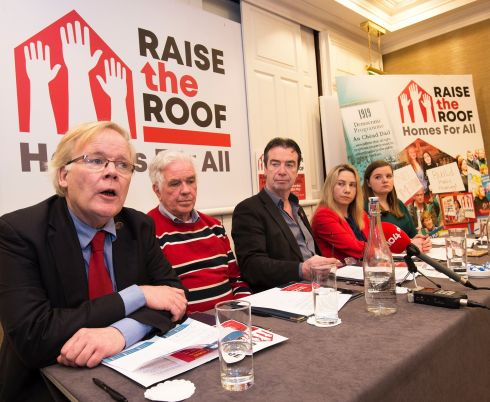 The Raise The Roof campaign platform is to hold a national rally in Dublin on the housing crisis on May 18t. At the launch were, from left: Michael Taft, Siptu, Fr Peter McVerry, John Douglas, Ictu; Laura Harmon, National Women's Council of Ireland and Michelle Byrne of Union of Students in Ireland. Photograph: Dave Meehan/The Irish Times