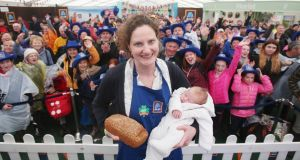 Emma Ferguson  and son Paddy  after winning  the National Brown Bread Baking Competition at the 2018 National Ploughing Championships.  Photograph: Leon Farrell/Photocall