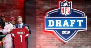 Kyler Murray of Oklahoma with NFL commissioner Roger Goodell after being announced as the first pick in the first round of the NFL Draft. Photo: Joe Robbins/Getty Images