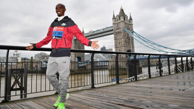 Farah poses during a photocall for the London marathon at Tower Bridge. Photo: Ben Stansall/Getty Images