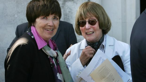 Margaret Daly, left, and author Val Mulkerns at the funeral service for David Marcus in the Victorian Chapel, Mount Jerome Crematorium, Harold's Cross, Dublin in May 2009. Photograph: Matt Kavanagh