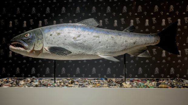Mark Dion, The Salmon of Knowledge Returns, 2015. Sculpture Epoxy resin, steel, tar, wood, foam, paper, aerosol enamel, acrylic paints, adhesives, glass eyes, mixed media. Courtesy of the artist and Tanya Bonakdar Gallery, New York. Photograph: Rory Conaty