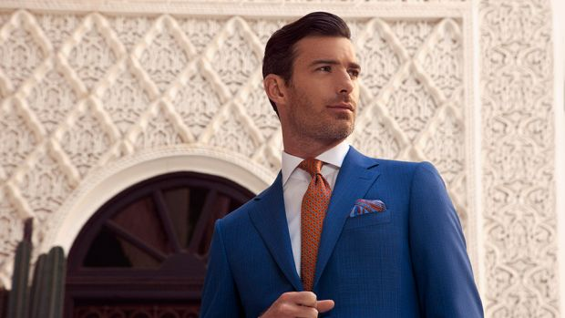 fee967e00a08 Blue silk and linen two-piece suit, with burnt orange tie and pocket square