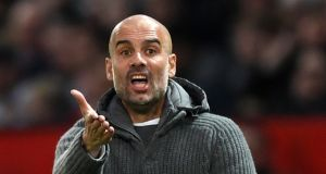 City manager Pep Guardiola during the  league match against  Manchester United at Old Trafford on April 24th. Photograph: Shaun Botterill/Getty Images