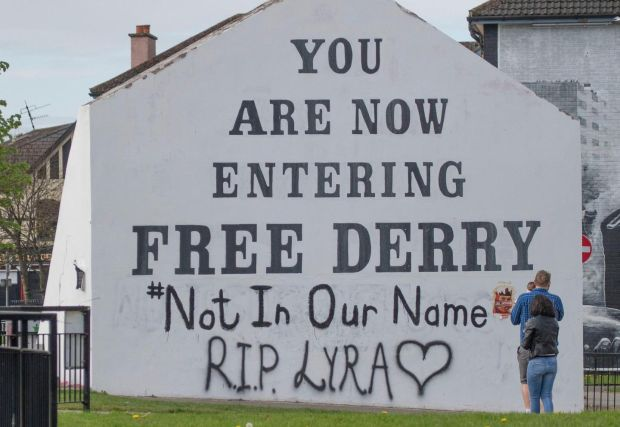 A message of condolence for Lyra McKee on to the Free Derry Corner. Photograph: Joe Boland/PA Wire