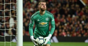 United keeper David de Gea  after making a save during the  league match between Manchester United and Manchester City at Old Trafford on April 24th. Photograph:  Oli Scarff/AFP