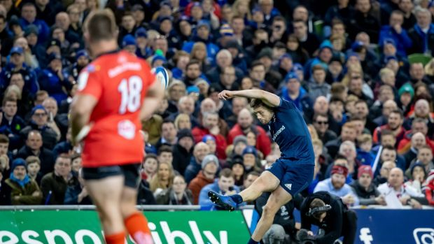 "Ross Byrne takes a penalty for Leinster in the Champions Cup quarter-final win over Ulster. ""One of the toughest games, if not the toughest, I've ever played. It was incredibly physical, and the atmosphere was so intense."" Photograph: Morgan Treacy/Inpho"