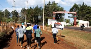 A group of runners taking part in a training session on March 13th, 2019, in Iten, Kenya. Photograph: Getty Images