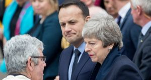 Leo Varadkar and British prime minister Theresa May after the funeral of Lyra McKee at St Anne's Cathedral in Belfast. Photograph: EPA