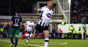 Dundalk's Michael Duffy celebrates scoring their second goal during the SSE Airtricity League Premier Division game against Shamrock Rovers at  Oriel Park. Photograph: Ryan Byrne/Inpho