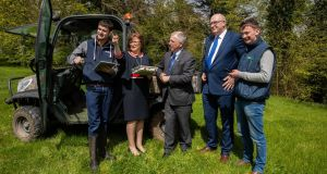 Teagasc student Killian Faulkner; Cathriona Hallahan, managing director of Microsoft Ireland; Gerry Boyle, director of Teagasc;  European Commissioner Phil Hogan; and Teagasc student Noel Prunty at Ballyhaise Agricultural College in Co Cavan on Saturday. Photograph: Naoise Culhane