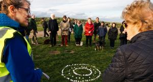 Vigil organiser Nuala Flynn (left) with other participants at a memorial event on Hampstead Heath for Peter Tyrell, who suffered  years of  abuse at Letterfrack industrial school. Photograph: Joanne O'Brien
