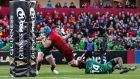 Munster's Tadhg Beirne scores a try during their Pro14 win over Connacht. Photo: Billy Stickland/Inpho