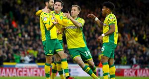 Norwich City's Mario Vrancic celebrates scoring his side's second goal of the game during the Championship win over Blackburn. Photo: Chris Radburn/PA Wire