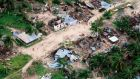 Badly damaged communities on Ibo island, Mozambique. Photograph: Saviano Abreu/OCHA via AP