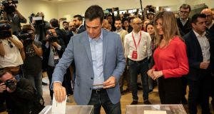 Spanish prime minister and Socialist Party candidate Pedro Sanchez casts his vote inside a polling station during Spain's general election in Pozuelo de Alarcon, outskirts of Madrid, Sunday, April 28th, 2019. Photograph: Bernat Armangue/AP