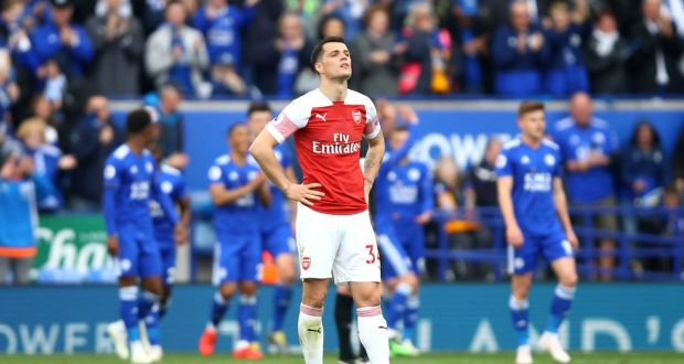 c2d2d3030 Granit Xhaka during Arsenal s defeat to Leicester City. Photograph  Julian  Finney Getty