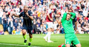 Sergio Aguero broke the deadlock for Manchester City at Burnley. Photograph: Peter Powell/EPA