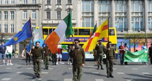 Members of Republican Sinn Féin during their Easter Rising commemoration outside the GPO in Dublin. Photograph: Aidan Crawley