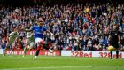 James Tavernier scores from the spot for Rangers against Aberdeen. Photograph: Ian Rutherford/PA