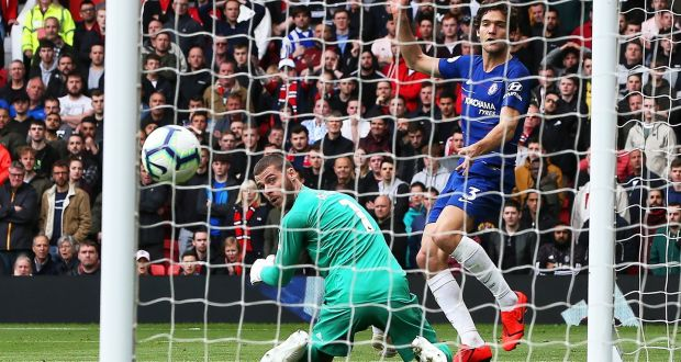 464d8ca220d Marcos Alonso equalises for Chelsea at Old Trafford. Photograph: Nigel  Roddis/Getty