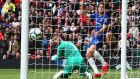 Marcos Alonso equalises for Chelsea at Old Trafford. Photograph: Nigel Roddis/Getty