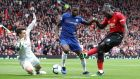 Manchester United's Romelu Lukaku misses a chance during his side's 1-1 draw with Chelsea at Old Trafford. Photograph: Martin Rickett/PA