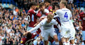The English Football Association will review the referee's report from the Championship clash between Leeds and Aston Villa. Photograph: Clint Hughes/PA