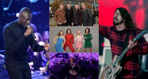 Stormzy (left), Westlife (top centre), Spice Girls (middle centre), Cardi B (bottom centre) and Dave Grohl and the Foo Fighters (right) are just a few of the acts stepping onto a stage in Ireland this summer. Photographs: Ian West/PA Wire, Colm Lenaghan/Pacemaker Press, Mike Blake/Reuters