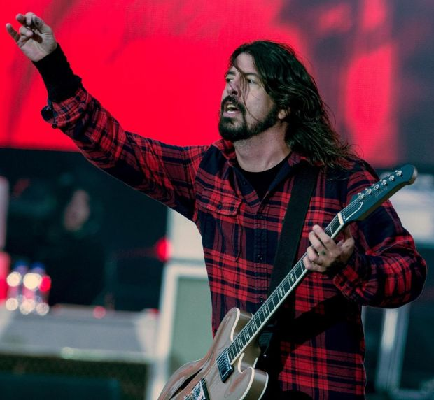Foo Fighters frontman Dave Grohl gesturses to the crowd at their last Irish gig at Slane Castle in 2015.