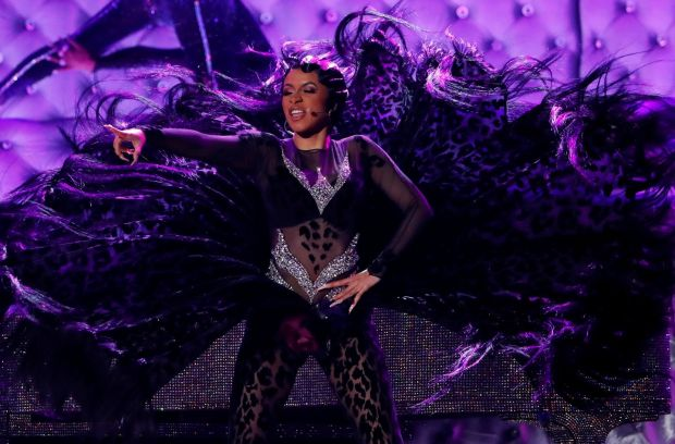 Cardi B performs at the 2019 Grammys ceremony. Photograph: Mike Blake/Reuters