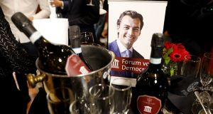 Portrait of Dutch far-right Forum for Democracy (FvD) party's Thierry Baudet beside alcohol bottles at a provincial elections party electoral gathering in Zeist. Photograph:  Bart Maat/ANP/AFP