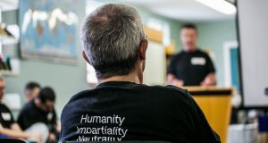 Irish Red Cross volunteer inmates at the Community Based Health in Detention Workshop at the Midlands Prison in Portlaoise. Photograph: James Forde