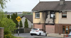 A house damaged in a petrol bomb attack in Loughboy, Drogheda, Co Louth. Photograph: Dara Mac Dónaill/The Irish Times