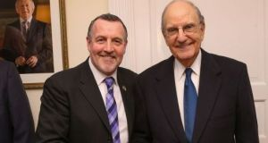 Former INLA prisoner Malachy McAllister with former US Senator George Mitchell.