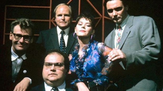 Tony Slattery (far right) with Whose Line Is It Anyway co-stars Mike McShane, Greg Proops, host Clive Anderson and Josie Lawerence. Photograph: Channel 4
