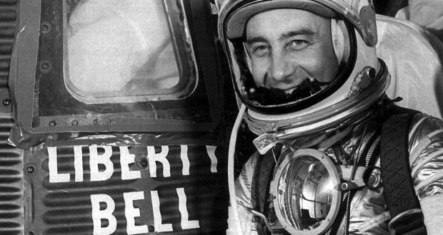 Astronaut Gus Grissom before boarding the ill-fated Liberty Bell 7 at  Cape Canaveral in July 1961. On January 27th, 1967, Grissom and  fellow astronauts Ed White and Roger B Chaffee were killed  during a pre-launch test for the Apollo 1 mission at Cape Kennedy. Photograph: AP/Nasa
