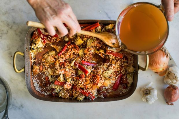 Yotam Ottolenghi's baked paella. Photograph: Andrew Scrivani/New York Times
