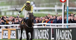 Paul Townend on Al Boum Photo celebrates victory in the  Cheltenham Gold Cup  on March 15th, 2019.   Photograph: Michael Steele/Getty Images