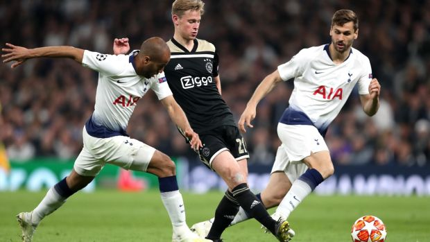 Frenkie de Jong delivered a complete midfield display against Tottenham. Photograph: Julian Finney/Getty
