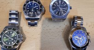 Some of the watches seized during a series of raids in Dublin and Kildare. Photograph: Garda Press Office