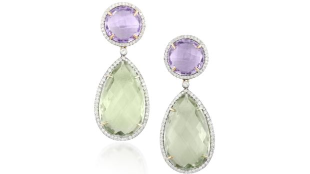 Lot 218 Green and purple amethyst earrings (€600 - €800)