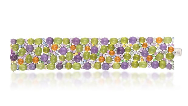 Lot 142 diamond and coloured stone bracelet (€12,000 - €18,000)