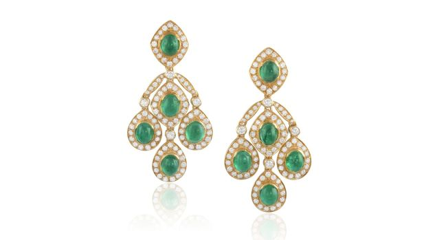 Lot 97 Emerald and diamond ear clips (€8,000 - €10,000)
