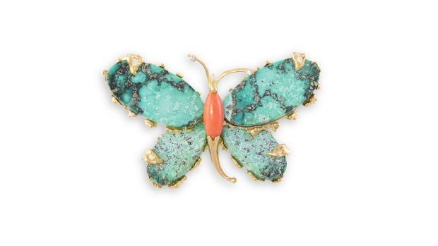 Lot 73 Turquoise and diamond brooch (€1,200 - €1,800)
